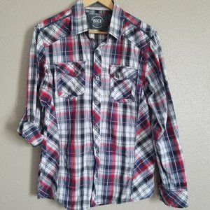 Men's BKE red, white and blue plaid top